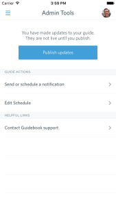 mobile admin publish options screen