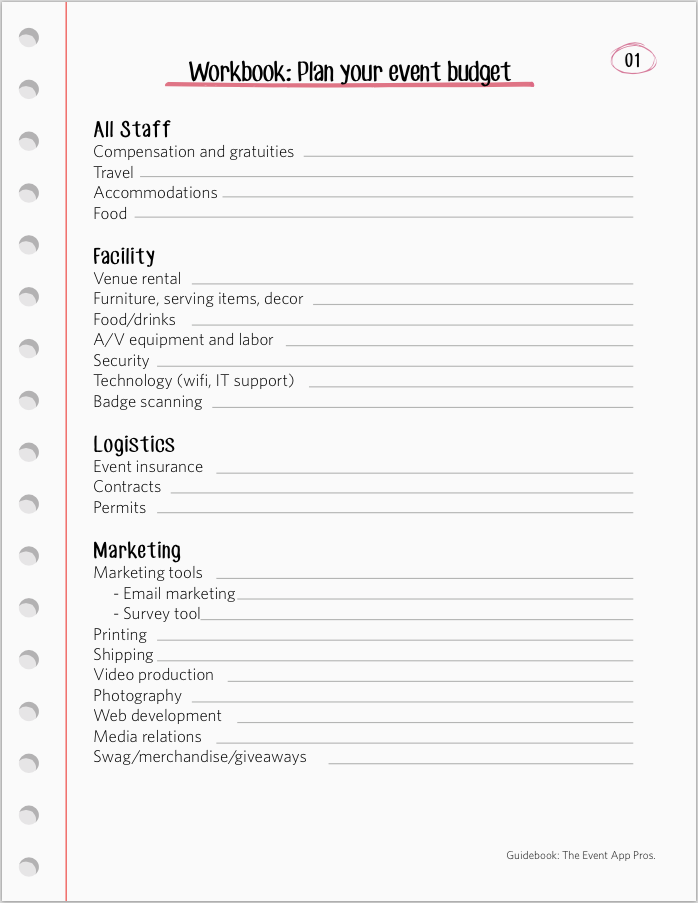 event planning worksheet - Template