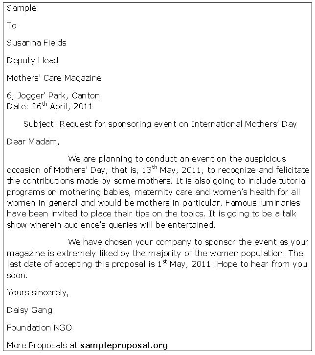 Event Proposal Sponsorship Letter Proposal  Sponsorship Letter