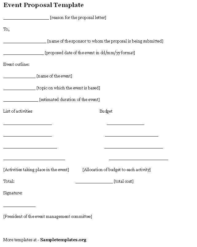 Bad Event Proposal Template 1  Event Proposal Sample Letter
