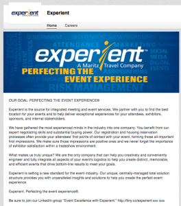 experient's event planning business page