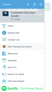 guidebot csa guide screenshot internal communications app