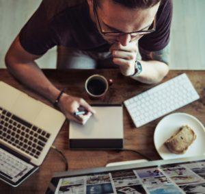 man designing mobile app