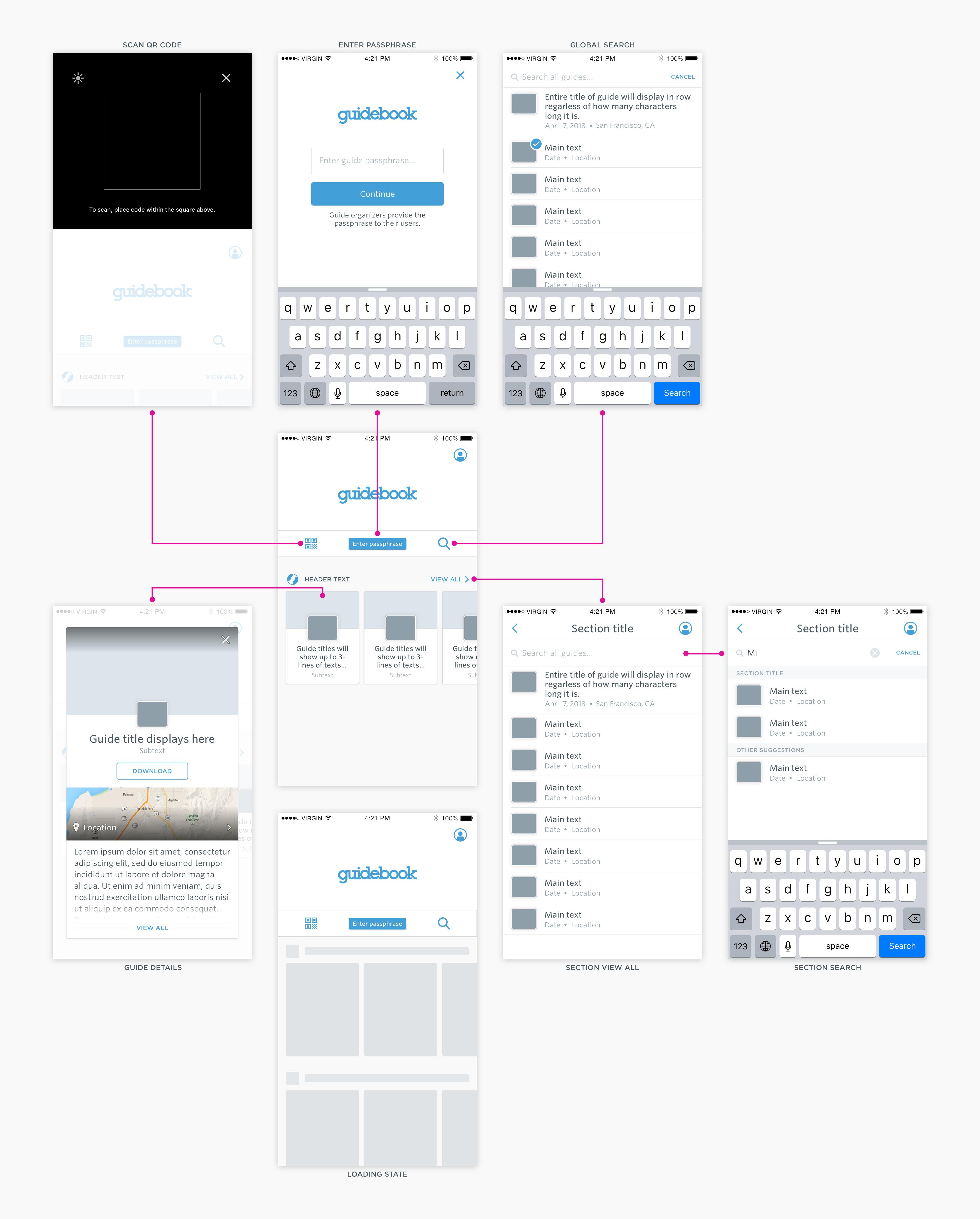 guidebook app home multiple screens