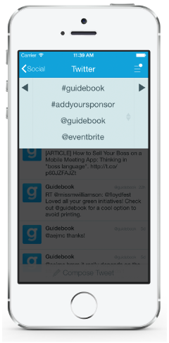 event app sponsorship tweets